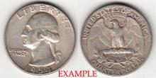 1954 25c US Washington silver quarter