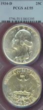 1934-D 25c US silver Washington quarter
