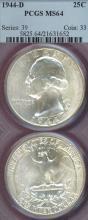 1944-D 25c US silver Washington quarter
