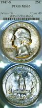 1947-S 25c US silver Washington quarter PCGS MS 65