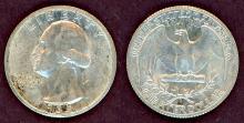 1935-D US Washington silver quarter AU+